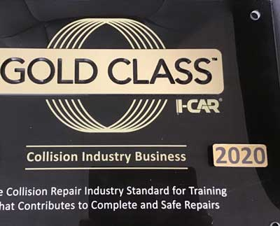 I-Car Gold Class certification plaque 2020