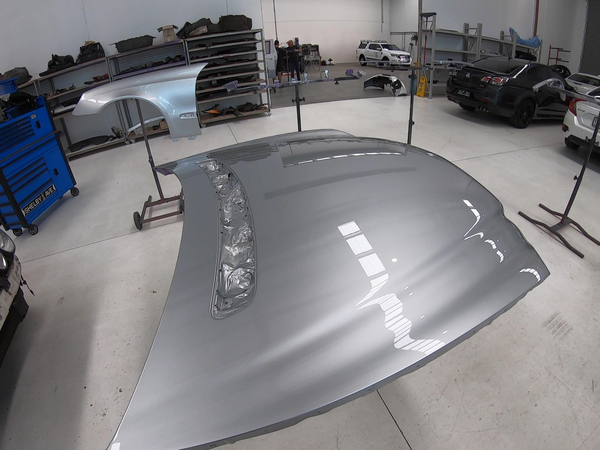 Mercedes auto body repair on this bonnet restoring it back to its pre accident condition.