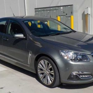 The left side view after this Holden has undergone smash repairs.