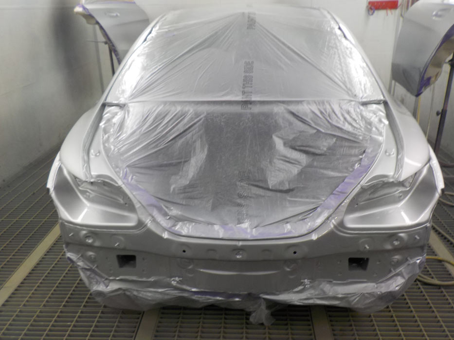 Prepping this Mercedes in our spray oven by our specialist Mercedes trained spray painters
